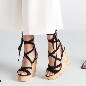 M.Gemi Camel Wrap Up Suede Wedge